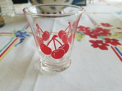 """Vintage Anchor Hocking/Libbey Cherry Juice glass- 3""""H"""