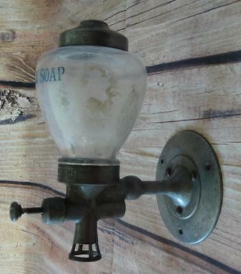 VTG 1920s Antique Procter & Gamble Ivory Soap Dispenser Wall Mount Glass Metal