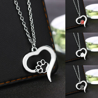 Pet Paw Dog Cat Puppy Footprint Pendant Necklace 925 Silver Chain Jewelry Gift