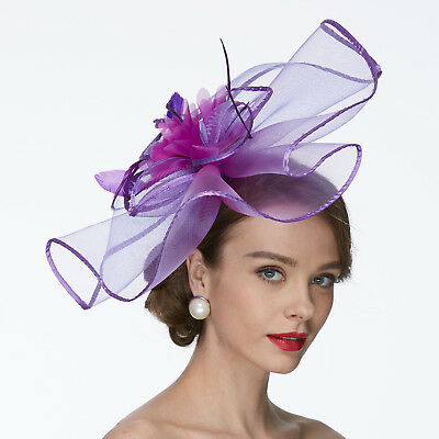 Large Flower Feather Net Fascinator Hat Veils Wedding Race Royal Ascot Dressing