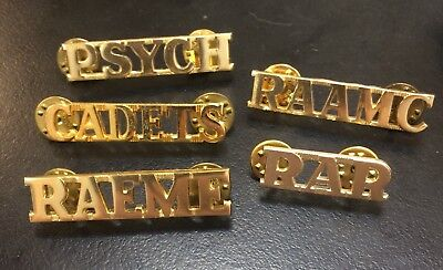 5 Anodised Army Shoulder title Badges CADETS RAR RAAMC RAEME PSYCH