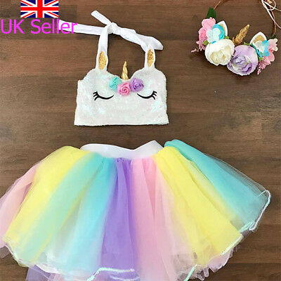 Kids Toddler Baby Girls Rainbow Tulle Tutu Skirt Princess Party Dress Clothes