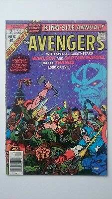 The Avengers King-Size Annual # 7  Vf+  Thanos Warlock Captain Marvel Cents '77