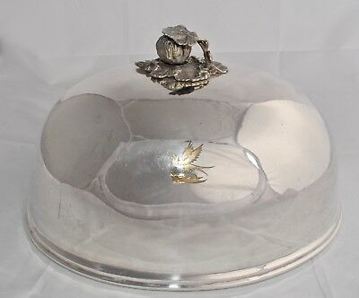 Antique Victorian Silver Plate Meat Dome/Meat Cover - Crested - Ornate Handle