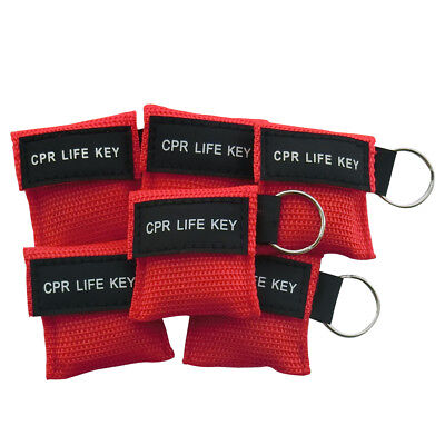 100pcs Keychian CPR Face Sheild CPR Mask For First Aid Training Red
