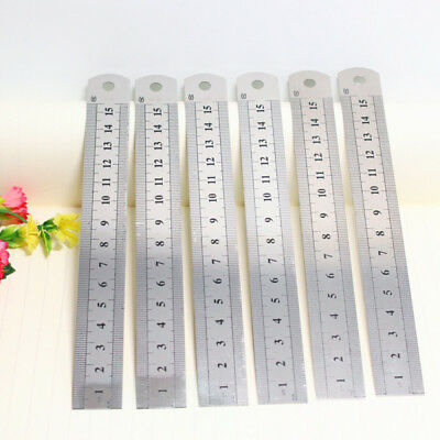 1pcs Stainless Steel Metal Pocket Measuring Ruler Double Sided 15cm Metric HOT