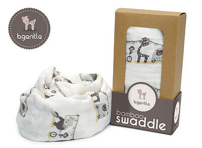 NEW B.Gentle 100% BAMBOO Baby Swaddle Wrap Circus Friends 12 x 120 cm