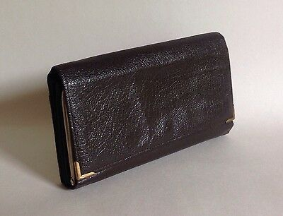 1960s Vintage All Leather Large Textured Leather Dark Brown Wallet Purse