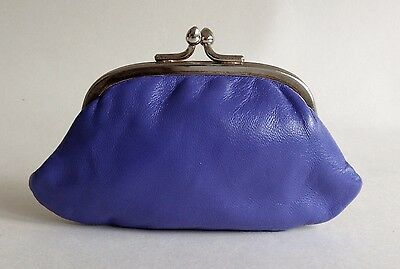 Vintage 1950s SmallPurple Leather Coin Purse Gold Toned Frame Lilac Satin Lining