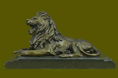 Angry Roaring Lion Signed Barye Hot Cast Bronze Marble Sculpture Statue Bg