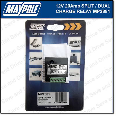Maypole 12V 20Amp Dual Charge Split Relay Towing Trailer Caravan Towbar MP2881
