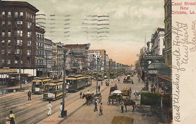 NEW ORLEANS, Louisiana , PU-1906; Canal Street, Trolleys