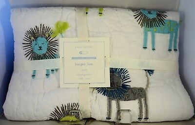 Pottery Barn Kids Baby Harper Lion Animal Quilt Gray Aqua & Green NWT