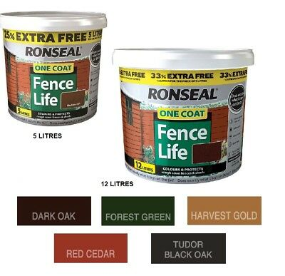 Ronseal One Coat Fence Life 5L & 12L  Life Exterior Wood Paint Brush On Protect