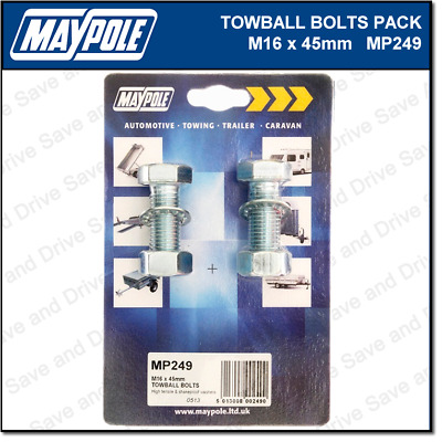Maypole Towbar Bolts, Nuts & Washer Pack M16 x 45mm Towing Trailer Caravan MP249