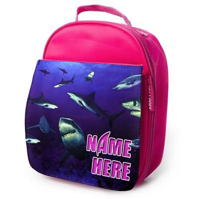 PERSONALISED Lunch Bag SHARK SEA Insulated Pink School Kids Girls Snack Box ET03