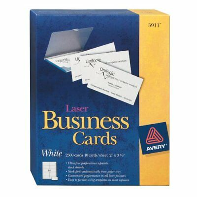 """Avery Business Card - For Laser Print - 2"""" X 3.50"""" - 2500 / Box - White"""