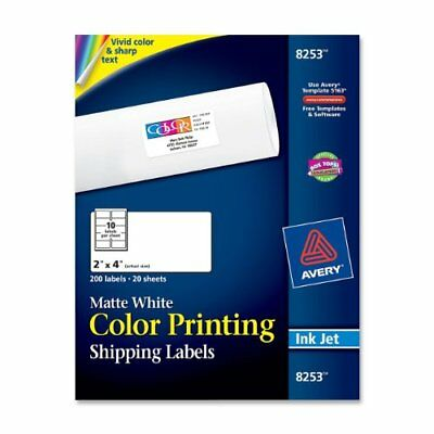 "Avery Color Printing Labels - 2"" Width X 4"" Length - 200 / Pack - (ave8253)"