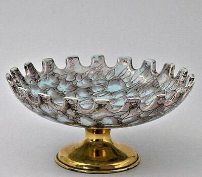 Delft Hollande faïence Coupe turquoise piedouche laiton Holland ceramic 60-70