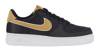 NEW NIKE AIR FORCE 1  07 SE CASUAL WOMENS SHOES BLACK Wheat Gold White 5 2a0cf23c4