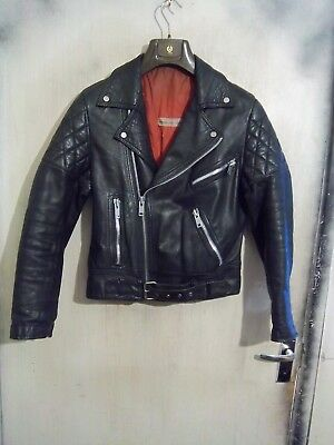 """Vintage 80's Belstaff Leather Perfecto Motorcycle Jacket Size 40"""" Small So 36"""""""