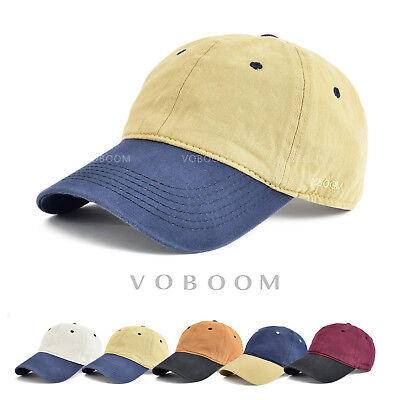 VOBOOM Solid 100% Cotton Two Tone Low Profile Six Panel Plain baseball caps