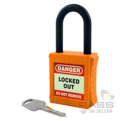 Lockout Fully Insulated Padlock with NYLON Shackle - Key Different (Orange)