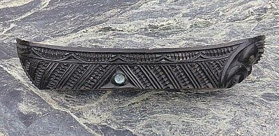 Good Vintage Oceanic New Zealand Maori Carved Wooden Canoe Tiki Shell Inlays Nr!