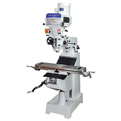 Pm-935Tv Vertical Knee Mill Milling Machine Ultra High End Variable Speed 1Phase