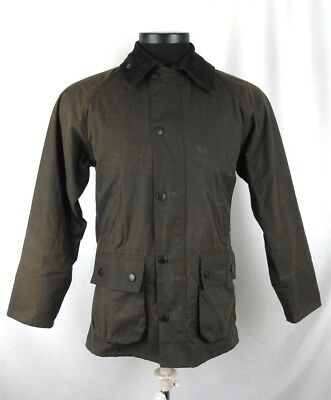 Barbour Mens Dark Olive Green Classic Bedale Tartan Lined Jacket Sz M