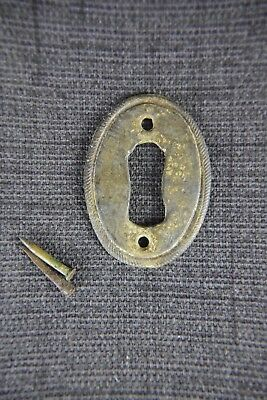 Antique Vintage Tiny Brass Keyhole Escutcheon Cabinet Furniture Hardware