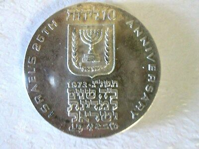 Israel 1973 Silver Proof Medal Coin 10 Lirot. 25Th Independence Anniversary Day.