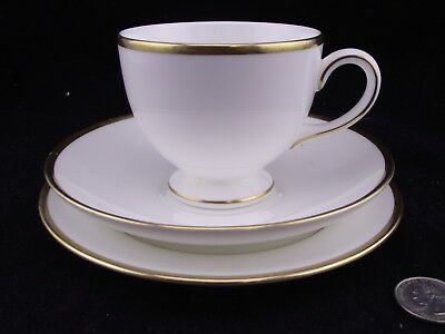 Wedgewood California White With Gold Trim Trio Tea Cup And Saucer Plus Side Plt