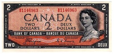 1954 Canada 2 Dollar Devil's Face Note - BB1146963, Out of Register, BC-30a