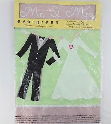 616f72437ef1f Evergreen Garden Flag Wedding Decor Just Married Mr   Mrs Bride Groom Dress  Tux