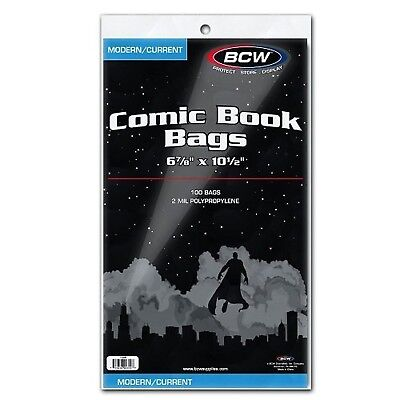 "BCW Current Size Comic Bags,6-7/8"" x 10-1/2"" with 2"" Flap - (100 Sleeves) New"