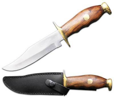 "RA 202 10"" wood handle hunting knife leather sheath bowie survival machete"