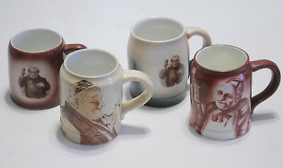 4 Vintage Porcelain Pottery Tankard Mags Painted Monks Portraits