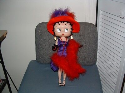 """Porcelain Betty Boop Doll 13"""" Dressed as Red Hat Lady"""