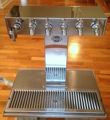 Perlick Beer System 6 Faucet Draft Beer Tower Tap Chrome Glycol Cooled w/ Drain