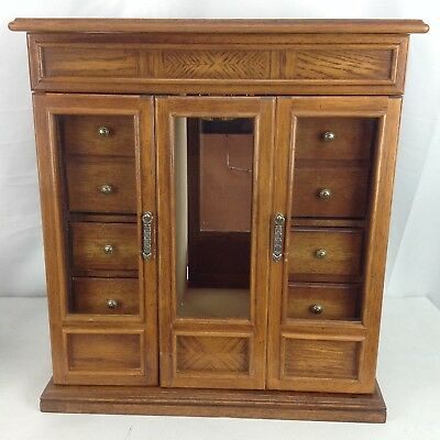 Vtg Large Jewelry Box Wood Glass Mirrored Chest Dresser Armoire Door