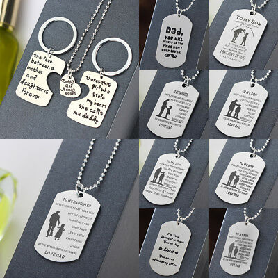 Stainless Steel Father's Day Dog Tag Daddy Daughter Son Necklace Pendant Jewelry