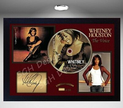 WHITNEY HOUSTON SIGNED FRAMED PHOTO CD Disc JUST WHITNEY Perfect gift