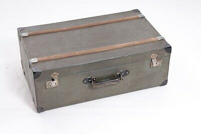Beautiful Old Suitcase Travel Cases Iconic Design Vintage Fabric Cover Gray