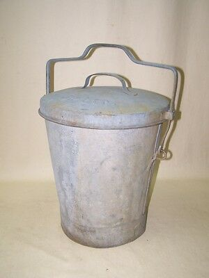 Large Old Zinc Trash Can 1014.4oz, Art Deco Bucket, Zinc with Lid