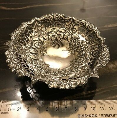 Antique Victorian Sterling Silver Bonbon Or Nut Dish Birmingham 1894