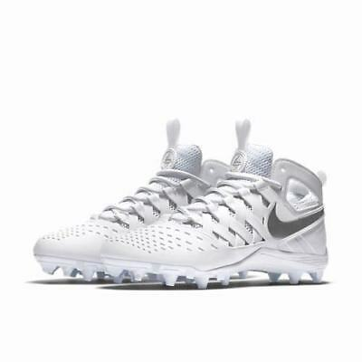 Nike Huarache V LAX White Silver Lacrosse Football Men's 10 Cleats 807142-100