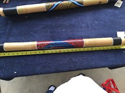 Bamboo Rain stick Hand carved Dot-Painted VINTAGE Rainmaker 31 Inches Indonesia