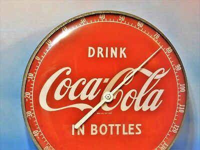 """VINTAGE~COLLECTIBLE~1950'S  COCA COLA~THERMOMETER~12"""" diameter~WORKS VG"""