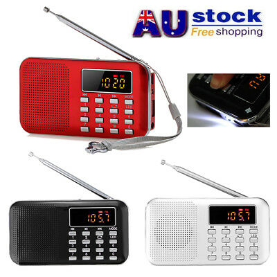 AU Digital FM AM Portable Radio World Band LED Mini Speaker AUX USB TF LED Light